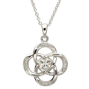 Sterling Silver April Birthstone Celtic Necklace