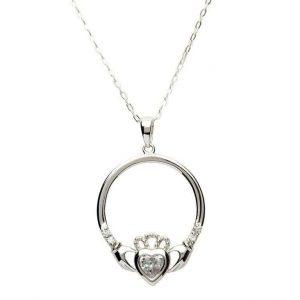 Sterling Silver April Claddagh Birthstone Pendant