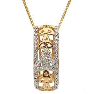 10k Gold Diamond Trinity Knot Pendant