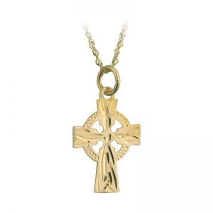 Solvar 9k Gold Hand Engraved Celtic Cross Pendant