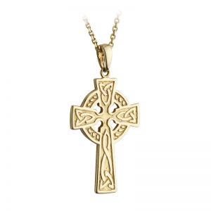 Solvar 10k Gold Double Sided Celtic Irish Cross Pendant