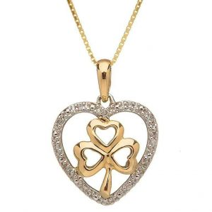 10k Gold Diamond Shamrock Heart Pendant