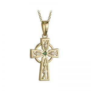 Solvar 14k Gold Genuine Diamond & Emerald Celtic High Cross Pendant