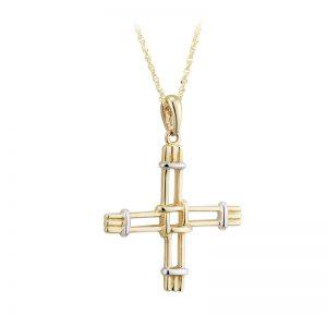 Solvar 14k White & Yellow Gold St Bridget's Cross Necklace