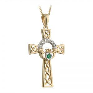 Solvar 14k Gold Diamond Emerald Claddagh Celtic Cross Pendant