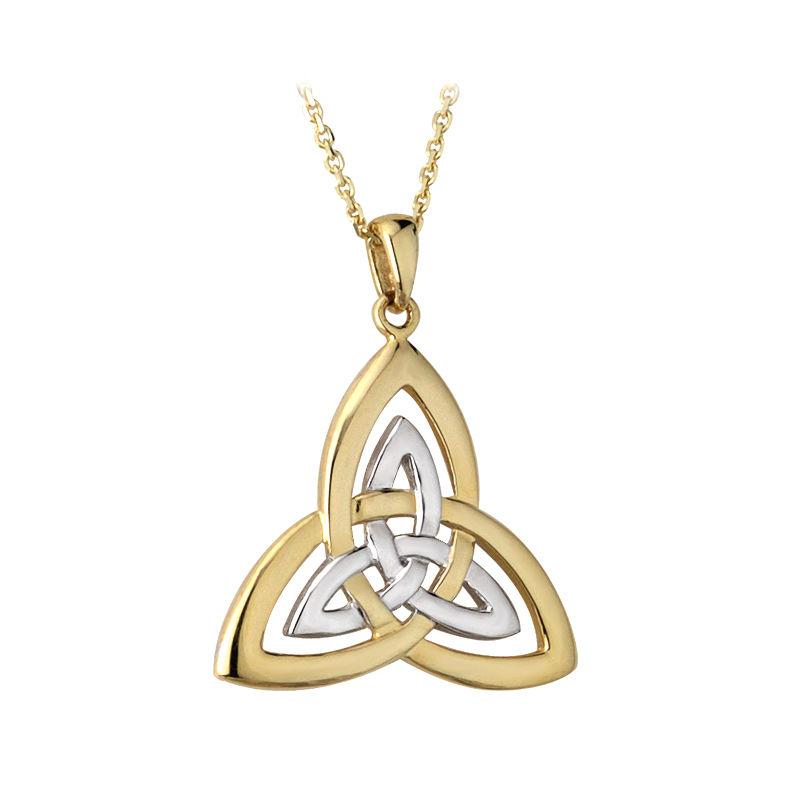 Solvar 14k Yellow White Gold Irish Celtic Trinity Knot Pendant