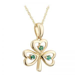 Solvar 14k Gold Emerald Shamrock Necklace Pendant