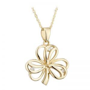 Solvar 14k Gold Diamond Shamrock Pendant Necklace