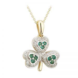 Solvar 14k Gold .21ct Diamond & Emerald Irish Shamrock Pendant Necklace