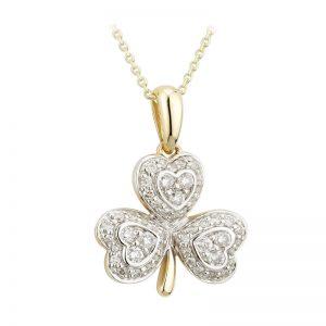 Solvar 14k Gold .35ct Genuine Diamond Irish Shamrock Pendant Necklace Solvar
