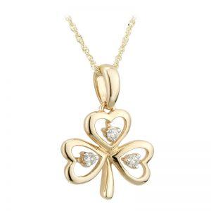 Solvar 14k Gold Diamond Irish Shamrock Pendant Necklace