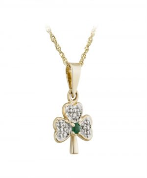14K Gold Diamond & Emerald Shamrock Pendant Solvar