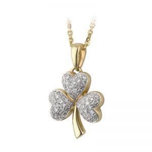Solvar 14k Gold Diamond Shamrock Pendant Necklace s44498