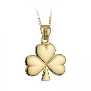 Solvar 14k Gold Celtic Irish Shiny Shamrock Pendant Necklace