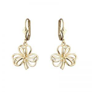 Solvar 14k Gold Diamond Irish Shamrock Drop Leverback Earrings