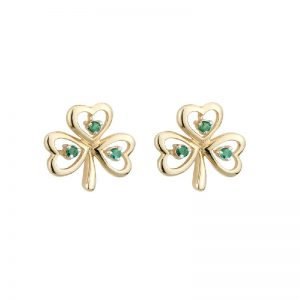 Solvar 14k Gold Genuine Emerald Celtic Shamrock Stud Earrings