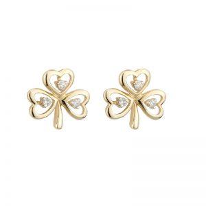 Solvar 10k Gold Genuine Diamond Celtic Shamrock Stud Earrings
