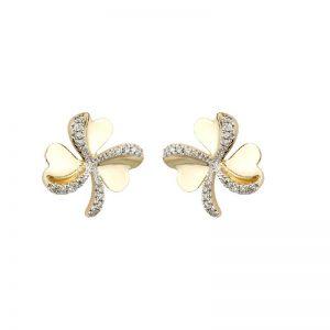 Solvar 10k Gold & Diamond Celtic Shamrock Stud Earrings