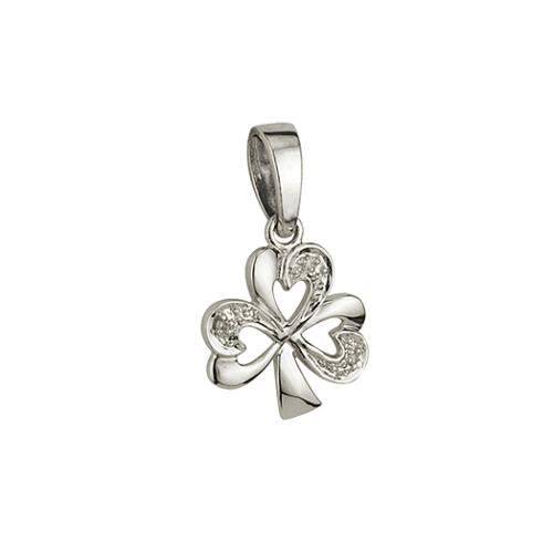 Solvar 14k white gold diamond shamrock pendant necklace chain aloadofball Images