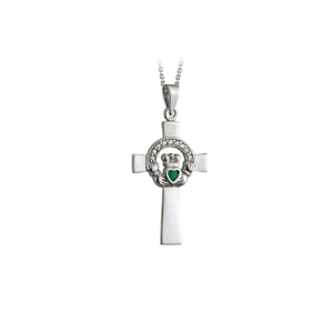 Solvar 14k White Gold Diamond & Emerald Claddagh Celtic Cross