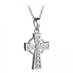 Solvar 14k White Gold Genuine Diamond Celtic High Cross