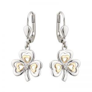 Solvar 10k Gold & Sterling Silver Diamond Drop Dangle Shamrock Earrings