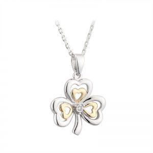 Solvar 10k Gold & Sterling Silver Diamond Irish Shamrock Pendant Necklace