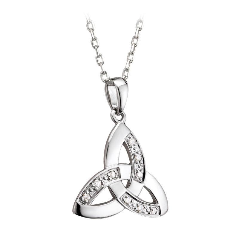 Solvar 14k white gold diamond celtic knot trinity pendant necklace aloadofball Gallery