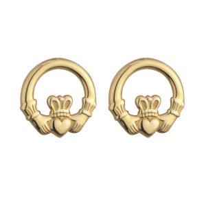 Solvar 9k Gold Light Claddagh Stud Earrings