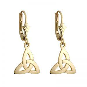 Solvar 14k Gold Trinity Celtic Knot Drop Dangle Leverback Earrings