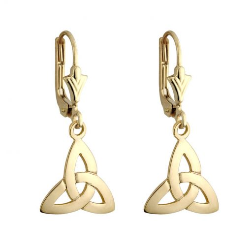 Solvar 14k Gold Trinity Celtic Knot Drop Dangle Leverback Earrings