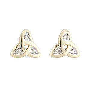 f3763d6ad Solvar 14k Gold & Diamond Irish Trinity Celtic Knot stud Earrings