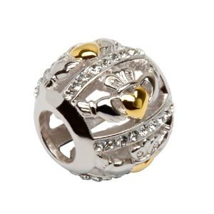Sterling Silver Claddagh Bead Swarovski Crystals