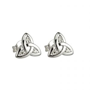 Solvar 14k White Gold Diamond Trinity Knot Stud Earrings