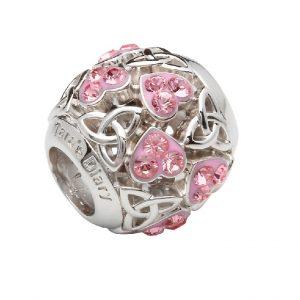 Heart Trinity Bead Pink Swarovski Crystals