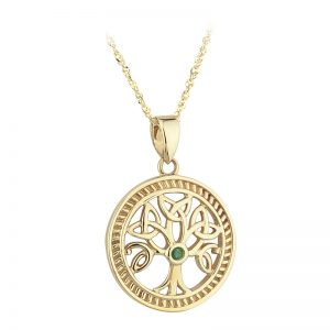 Solvar 10k Gold Irish Emerald Celtic Tree of Life