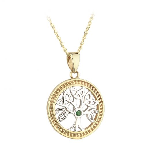 Solvar 14k 2 Tone Yellow & White Gold Emerald Tree of Life Necklace