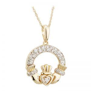 Solvar 14k Gold Diamond Irish Claddagh Necklace