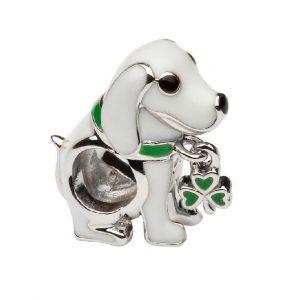 Tara's Diary Sterling Silver Enamel Shamrock Dog Bead