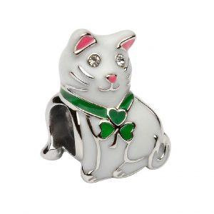Tara's Diary Sterling Silver Enamel Shamrock Cat Bead