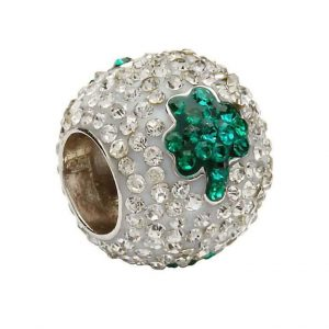 Tara's Diary Sterling Silver Green Crystal Shamrock Bead