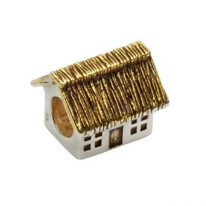 Tara's Diary Sterling Silver Gold Irish Cottage Bead