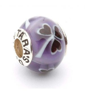Tara's Diary Purple Shamrock Murano Glass Bead