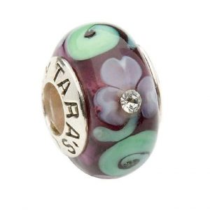 Tara's Diary Spiral Purple Shamrock Murano Glass Bead