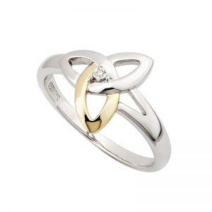 Solvar Sterling Silver Gold Diamond Trinity Ring
