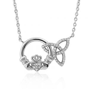 Solvar Sterling Silver Claddagh Trinity CZ Necklace