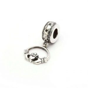 Sterling Silver Tara's Diary Irish Claddagh Dangle Bead