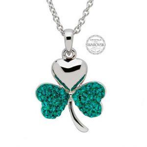 Green Swarovski Crystal Sterling Silver Shamrock Necklace