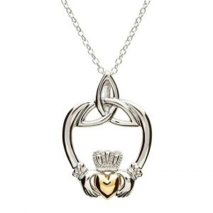 Claddagh Trinity Sterling Silver Gold Heart Pendant