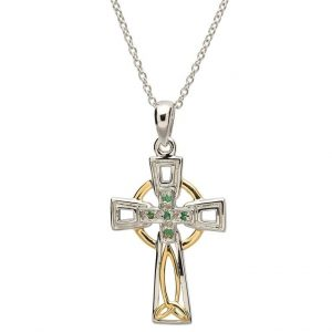 Celtic Trinity Knot Diamond Emerald Cross